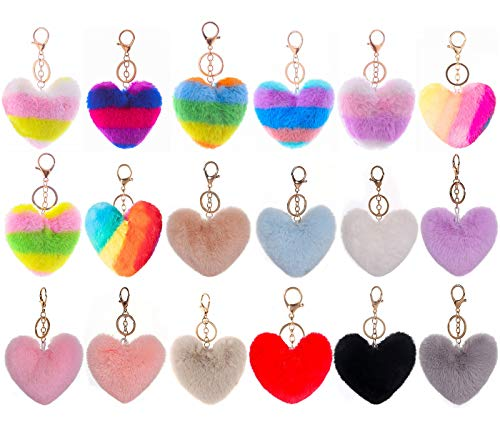 Cieovo 18 Pieces Pom Poms Keychains Fluffy Heart Shape Pompoms Keyring Faux Rabbit Fur Pompoms for Girls Women Holiday Birthday Gift DIY Crafts Supplies
