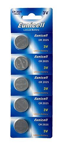 Eunicell 5 x CR2025 3V Lithium Knopfzelle 150 mAh (1 Blistercard a 5 Batterien) EINWEG Markenware