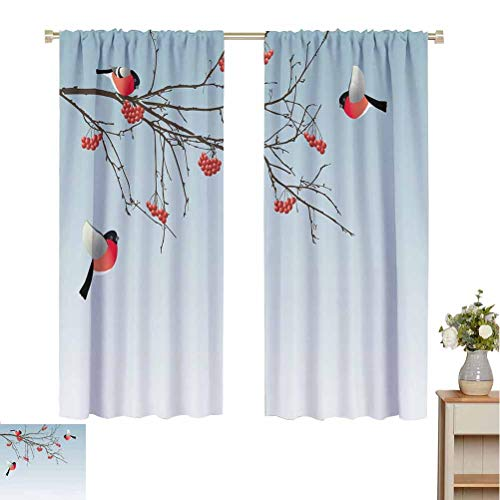 Toopeek Rowan Wear-Resistant Color Curtain Bullfinch Birds Flying and on Branches Winter Themed Graphic Design 2 Panel Sets W72 x L84 Inch Light Blue Coral Dark Brown