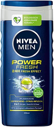 NIVEA MEN Power Fresh Pflegedusche (250 ml), Duschgel für einen kraftvollen Start in den Tag, Dusche mit Menthol und dem Duft der Wasserminze
