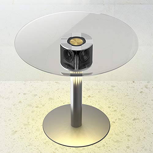 Read About ABRAMTEK E800 Speaker Table, Modern Home Round Glass Smart End Table with 50W Bluetooth S...