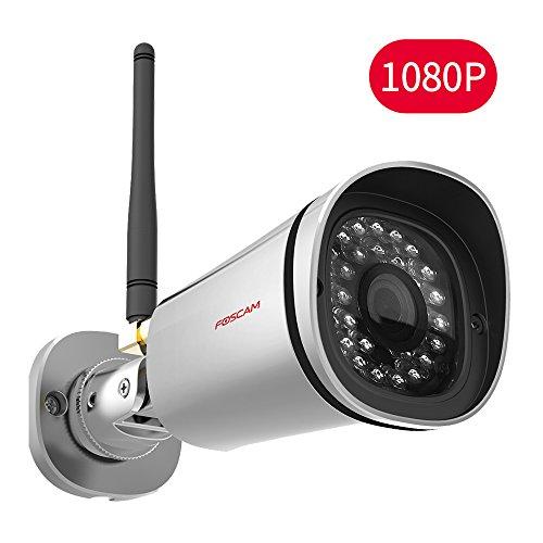 Foscam FI9900P - Cámara IP de vigilancia para exterior, función P2P, 2 MP, 1080p, WiFi, H264, compatible con iOS y Android (5 W) color plata