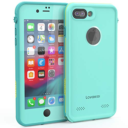 LOVE BEIDI iPhone 8 7 Plus Waterproof Case Cover Built-in Screen Protector Fully Sealed Life Shockproof Snowproof Underwater Protective Cases for iPhone iPhone 8 7 Plus 5.5' (Cyan/Green/Mint Green)