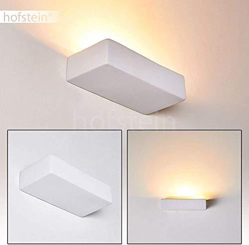 Wandlamp Silvano van keramiek in wit, wandlamp met grote lichtkegel, 1 x E14 - stopcontact, max. 40 Watt, binnenwandlamp kan worden beschilderd met standaard kleuren, geschikt voor LED-verlichting