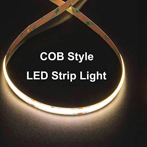 ROHS-Listed 16.4ft 6000LM COB LED Strip Light Warm White 3000K,512 LEDs/M 2560 LEDs,CRI 90+,10W/M,Diy Cob Led Tape Light DC 24V/50W