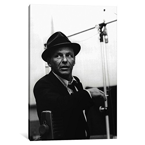 iCanvasART 1 Piece Frank Sinatra Leaning on Microphone Canva...