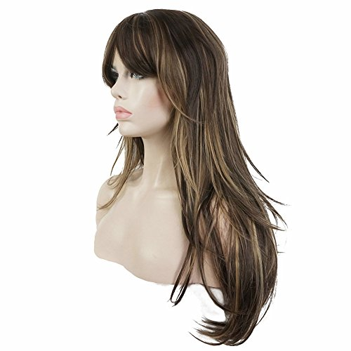 Lydell Women's Wig Long Straight Layered Wig Brown with Blonde Highlights Synthetic Full Wigs