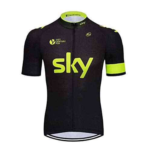 SUHINFE Herren Radtrikot Fahrrad Trikot Kurzarm Schnelltrocknend Atmungsaktives Shirt, Sky-BLKY, XL