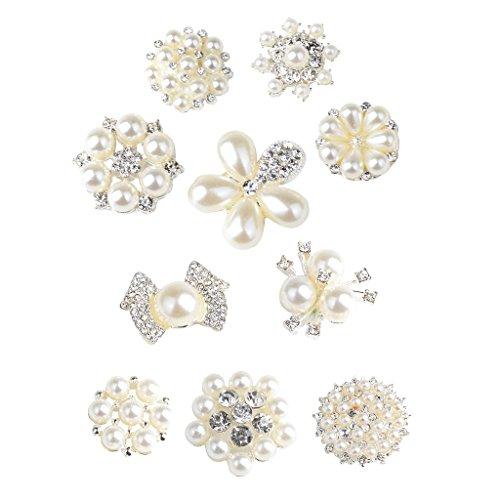 B Baosity 10 Piezas Botones de Diamantes de Imitación de Perlas Espalda Plana Decoración de Boda Accesorios de Bricolaje