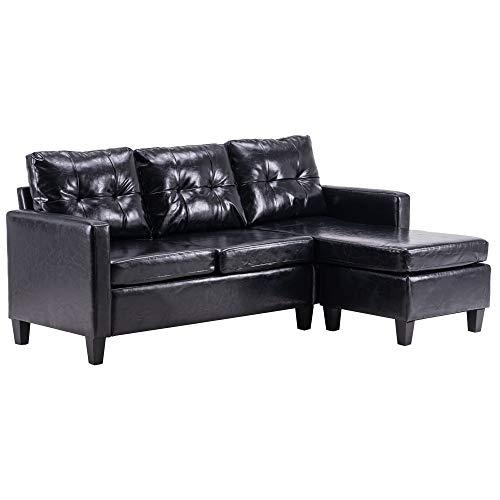 Sofá moderno de esquina, sofá de combinación de piel sintética, silla reclinable en forma de L, sofá cama para sala de estar apartamento (negro)