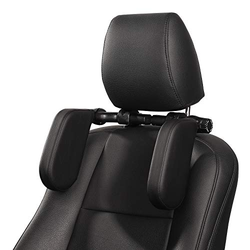 Car Headrest Pillow, HZGAMER Car Neck Support Pillow, Sleeping Travel Headrest, Car Neck Head Shoulder Sleep Cushion Car Side Pillows for Kids, Adults, Elders and Passenger - Black
