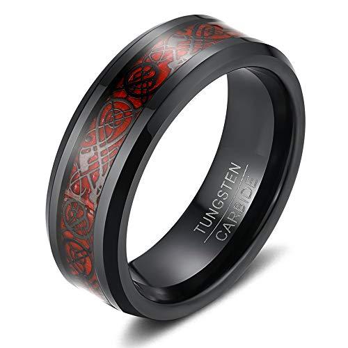 KAMIIN 8mm Men's Black Celtic Dragon Tungsten Carbide Ring Wedding Band Red Carbon Fiber Black/Green Celtic Dragon Inlay Size 7 to 13