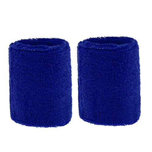freneci Polsino da 2 Pezzi in Cotone Unisex per Sport Palestra Tennis Corsa Ciclismo - Blu Reale, 8 x 7 cm
