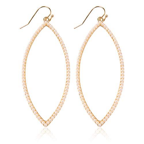 RIAH FASHION Sparkly Rhinestone Lightweight Geometric Hoop Drop Earrings - Teardrop, Pear, Oval, Marquise, Circle, Multi Cubic Crystal, Acrylic Pearl Dangles