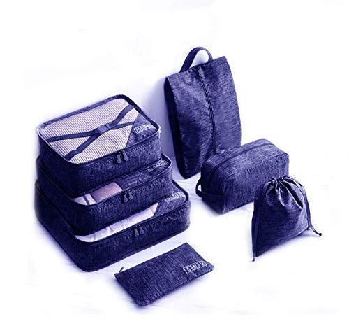 Kozy More 2020 魔法の整理 ビジネス 抗菌 トラベルポーチ 「7点セット+4枚チャック付ポリ収納袋」 旅行用 出張 整理 アレンジケース パッキング 通気性抜群 大容量 便利グッズ 衣類収納 小物収納 スーツケース整理 巾着ポーチ ネイビー