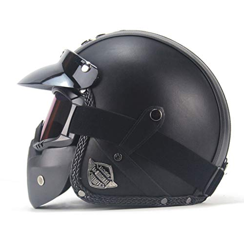 Casque de moto en plein air, masque de sécurité pour adulte en cuir à masque ouvert pour adulte (Couleur : NOIR-XXL)