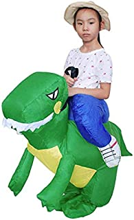 Inflatable Funny Dinosaur Rider Costume Halloween Cosplay for Kids, Green