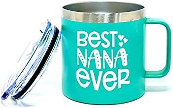 Grandma Cup Gifts - Grandmas Coffee Mug Tumblers for Women - Double Walled Vacuum Sealed Stainless Steel 14 oz Tumbler (Best Nana Ever Teal)