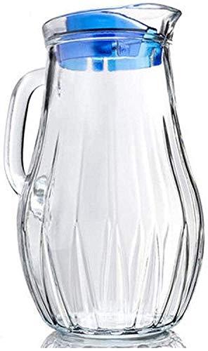 Jarra de Vidrio de Vidrio de Jarra de Agua con Tapa con Hielo Helado y manija Borosilicate Jarra de Vidrio Resistente al Calor para el té/Agua Caliente y fría/Vino de Hielo Café Leche y Jugo Bebid