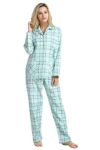 GLOBAL Comfy Pajamas for Women 2-Piece Warm and Cozy Flannel Pj Set of Loungewear Button Front Top Pants XL