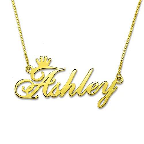 Top WHY Namenshalskette personalisiert, 925 Sterling Silber Namenshalsketten-Kronenschmuck nach Maß beliebige Namen