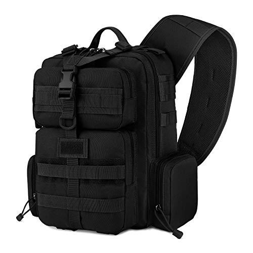 Gonex Schultertasche Tactical Sling Bag Brusttasche Sling Rucksack Crossover Bag Militär Molle Daypack Assault für Herren Damen, Schwarz