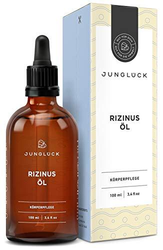 Junglück Rizinusöl 100% rein & vegan | 100 ml in Braunglas | Feuchtigkeit & Pflege für Haar, Gesicht & Haut | Reines Öl aus Rizinus Kernen (Castor Oil) | Natürliche Kosmetik made in Germany