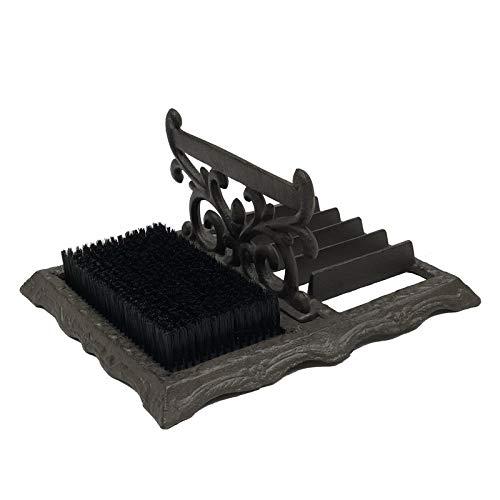 chemin_de_campagne Grand Gratte-Pied avec Brosse à Chaussure Botte Volute Fonte 34 cm x 29 cm x 17 cm