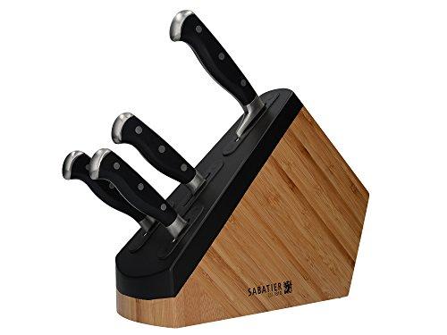 Creative Tops Sabatier Maison 4-Piece Edgekeeper Self-Sharpening Kitchen Set with Knife Block, Stainless Steel, Brown/Black, 35.2 x 11.8 x 30.2 cm