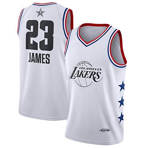 Los Angeles Lakers Lebron James 23# Basketball Trikots für Man, 2019 All-Star Fan Edition Bestickt Basketball et Jugend Ärmellose Sport Weste Shorts Outdoor Sports Tops Hosen (S-2XL) Gr. L, Weiß (1)