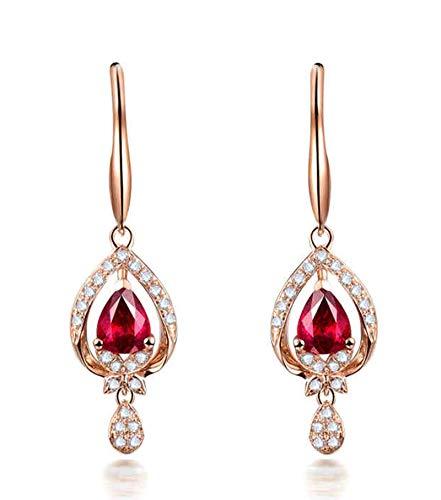 AtHomeShop Auténtica colección de oro rosa de 18 quilates, pendientes para mujer con forma de gota, rubí y diamantes brillantes de 1 ct, para la madre o la novia, oro rosa rojo