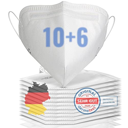 16x FFP2 Maske CE zertifiziert aus DEUTSCHLAND - Geprüfte FFP2 Maske CE zertifiziert deutscher Hersteller - Mund und Nasenschutz - FFP2 Masken 4 lagig- Masken Mundschutz FFP2 für Damen & Herren