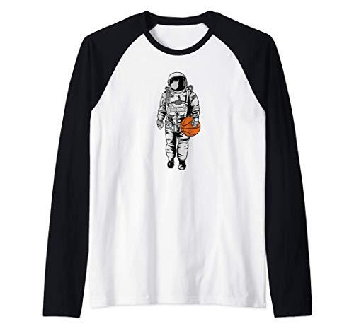 Space Basketball Astronaut funny Basketball Space Camiseta Manga Raglan