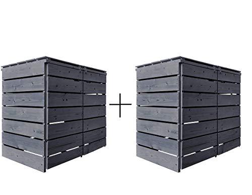 Fairpreis-design Mülltonnenbox Mülltonnenverkleidung 4 Tonnen Holz 120L - 240L anthrazit inkl. Rückwand vorimprägniert vormontiert Müllcontainer Mülltonne Mod.A