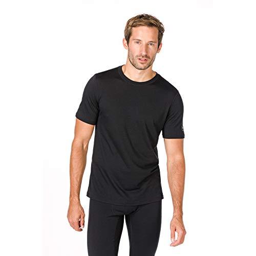super.natural Dünnes Herren Kurzarm T-Shirt, Mit Merinowolle, M BASE TEE 140, Größe: M, Farbe: Schwarz (Jet Black)