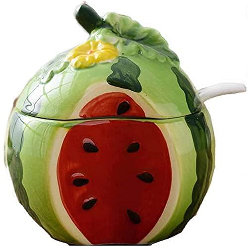 250 ml fruitvormige kruidenpotuikerkom met deksel en lepelgroen citroen Kruiden potten WSYGHP (Color : Red Watermelon)