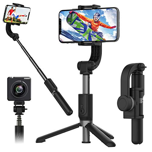 1-Axis Handheld Gimbal Stabilizer for Smartphone, Time-Lapse Object Tracking, Pan-tilt Tripod with Built-in Bluetooth Remote for iPhone 11/11 Pro/X/Xr/6s, Samsung S10+/S10/S9/S8, Huawei P30 Pro, etc.