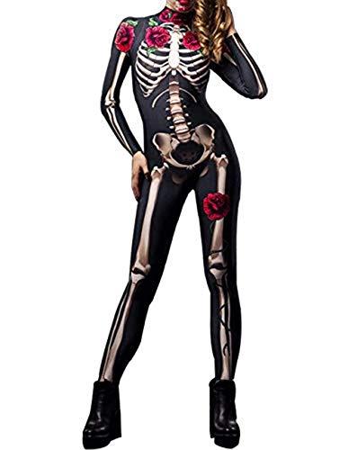 snaked cat Mono de Disfraz de Halloween para Mujer, diseño de Calavera de Rosa