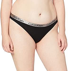 Calvin Klein Radiant Cotton-Thong Tanga, Negro (Black), X-Small para Mujer