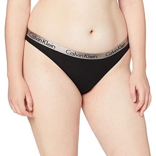 Calvin Klein Radiant Cotton-Thong Tanga, Negro (Black), M para Mujer