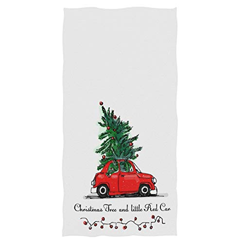 Vintage Red Truck Christmas Tree Hand Towels 16x30 in Bathroom Towel, Winter Snowflake Lantern Ultra Soft Highly Absorbent Small Bath Towel Merry Christmas X-mas Bathroom Decor Gifts