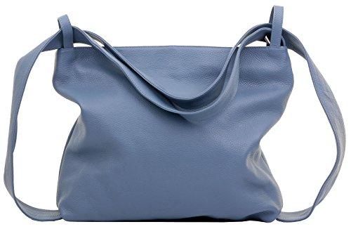 Primo Sacchi Damen Italienisch Hellblau Strukturiertes Leder Grab Schultertasche Handtasche Rucksack