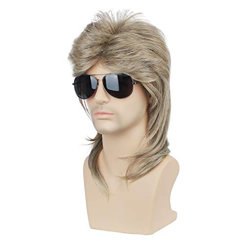 DAOTS Retro 70S 80S Mullet Wig Metal Rocker Disco Wig Heat Resistant Synthetic Fiber Men Wigs with Wig Cap Short Hair for Halloween Costume Cosplay Bounty Hunter Costume (Mixed Blonde)