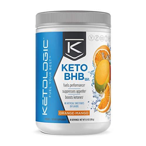 KetoLogic BHB Exogenous Ketones Powder + Electrolytes + Patented goBHB® for Max Results - Ketones Drink for Women & Men - Amplify Ketosis to Utilize Fat for Energy - 30 Servings - Orange Mango