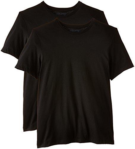 Skiny Herren Unterhemd Shirt Collection/Hr. T - Shirt DP, 2er Pack, Einfarbig, Gr. Small, Schwarz (BLACK 7665)