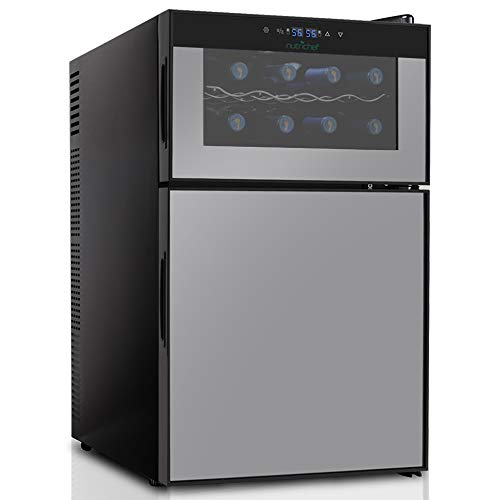 NutriChef PKTEWBC240 Wine Cooler and Mini Fridge – Two Door 8 Bottle Chiller Cellar Top-16 Can...
