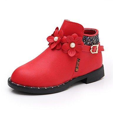 kekafu Pisos de niñas comodidad botas moda otoño invierno polipiel boda parte Casual y traje de noche Applique imitación Perla zipper,red,US1.5 / UE33 / REINO UNIDO14 Niños pequeños