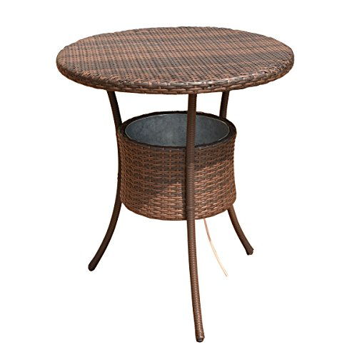 COSTWAY 31.5' 7.9-Gal Cool Bar Rattan Style Outdoor Patio Party Deck Pool Cooler Table with Ice Bucket, Brown
