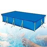 Cubierta para piscina antipolvo, antilluvia, redonda y rectangular, varios tamaños, poliéster, para piscina hinchable (380 × 280 cm, azul)