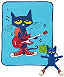 Pete The Cat Rock Out Mini Pillow Buddy and 46 Inch x 60 Inch Throw Set - Kids Super Soft 2 Piece Blanket Set (Official Pete The Cat Product)